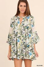 NWT Umgee Anthropologie Blue Floral Bell Sleeve w/ Lace Detail Boho Dress SZ M-L