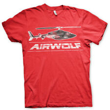 Airwolf Chopper Distressed Red Mens T-Shirt 80s Retro Official Gift TV SHOW