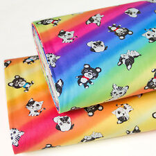 Japanese Fabric Oxford Cotton Fabric Rainbow Animal From Japan by 1/2 yard