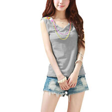 Women Sleeveless Form-fitting Patternless Stretch Top Blouse