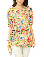 Lady Round Neck Elastic Cuffs Half-Length Sleeve Chic Tunic Top Blouse
