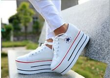 Womens girls Lace up Fashion Platform canvas high heel shoes sneakers Tennis New