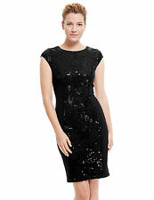 New M&S Collection Black Sequin Embellished Lace Panel Dress Sz UK 20 & 22