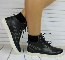 NEW LADIES FLAT LACE UP HI HIGH TOP ANKLE TRAINERS BOOTS SHOES SNEAKERS SIZE 4 5