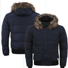 New Mens Dissident Delmonica Padded Faux Fur Hooded Winter Jacket Coat Size S-XL