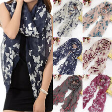 Women's Soft Butterfly Print Neck Voile Wrap Shawl Pashmina Stole Scarf Worthy