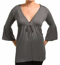 PGD Drawstring Empire Waist Top Deep VNeck Shirt Womens Short Bell Sleeve Tunic