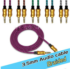 3.5mm Aux Braided Male to Male Stereo Jack Cable Headphone Speaker Earphone &Car