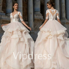 White Ivory Wedding Dresses Lace Appliques Half Sleeve Bridal Ball Gowns Custom