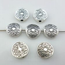 24/200pcs Tibetan Silver 10mm Charms Oblate Flower Spacer Beads Jewelry Findings