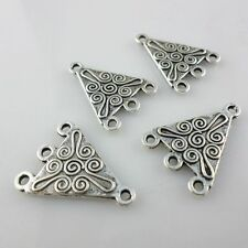 24/200pcs Tibetan Silver Charms Flower Earring Connector Pendants Jewelry Making
