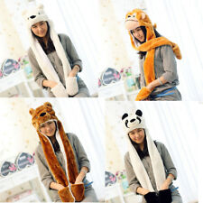 3in 1 Gloves Cartoon Earflaps Hood Animal Hat Paws Fluffy Plush Scarf Cap USShip