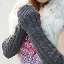 Women's Men's Long Knitted Crochet Fingerless Braided Arm Warmer Gloves Worthy