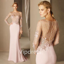 Elegant Evening Dresses Long Sleeve Lace Appliques Beads Pageant Gowns Custom