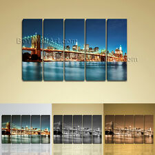 Large New York City Brooklyn Bridge Cityscape Contemporary Wall Art Print Canvas
