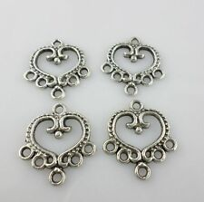24/200pcs Tibetan Silver Earrins Heart Connectors Bail Charms Jewelry Making