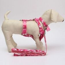 Pink Camouflage Dog Harness Collar Leash Adjustable Safe Control Pet Cat Puppy M
