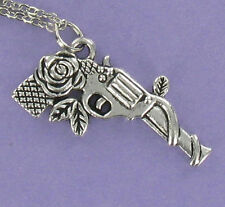 Gun With Rose Necklace - Pewter Charm on Cable Chain Revolver Pistol Colt NEW