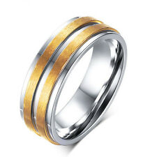 316L Stainless Steel Engagement CZ Matte Band Gold Brushed Couple Ring Size 5-13