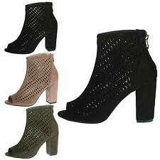Addison Womens Mid High Block Heel Cut Out Peep Toe Ankle Boots Ladies Shoes New