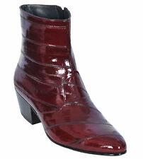 Los Altos Full Genuine Eel Dress Ankle Boots Medium Round Toe Side Zipper EE+