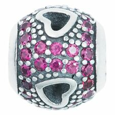 Sterling Silver Round Heart Pink CZ Crystal Bead for European Charm Bracelets