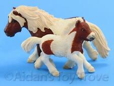 Schleich Model Horse Toy - 13297/13608 Shetland Pony Mare and Foal - Cute Pintos