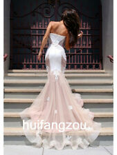 White Champagne Wedding Dresses Bridal Gowns Mermaid Size 4 6 8 10 12 14 16 Plus