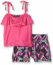 Limited Too Girls' Ruffle Cami Top and Rayon Print Short Set New  MSRP$32.00