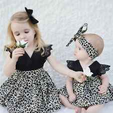 Baby Kid Girl Little Big Sister Matching Romper Bodysuit Tutu Dress Set Clothes