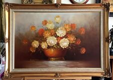 SUSAN PAGE Flowers, signed large oil painting in gilt frame
