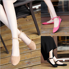 Fashion Womens Ankle Strap Flats Shoes Suede Ballet Flat Boat Shoes Casual shoes