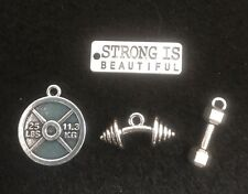 Weight Lifter Charm Plate Pendant Fitness Charm Gym Charm Workout Charm