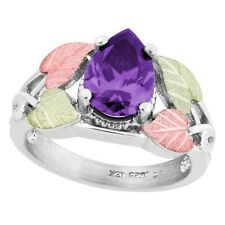 Black Hills Gold on Sterling Silver Ring w/ Pear Amethyst CZ Size 4 - 10