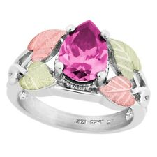 Black Hills Gold on Sterling Silver Ring w/ Pear Pink CZ Size 4 - 10
