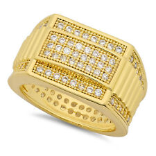 Hip Hop 14k Gold Plated Iced Out CZ 14.5mm Stacked Bands Bling Ring