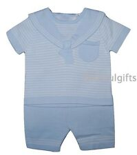 Baby Boys Sky Blue Knitted Cotton Two Piece Sailor Suit/Outfit 0-24 Months