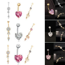 3pc Heart Shape Belly Button Navel Ring Bar Crystal Jewelry Dangle Body Piercing
