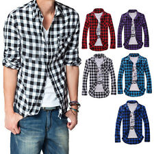 Men Fashion Casual Plaid Long-Sleeved Slim Fit Shirt Turn-down Collar Top Worthy