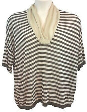 DONNAEFFE MILANO SILK SHAWL COLLAR BROWN AND TAN STRIPED KNIT TOP BLOUSE 46