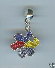 AUTISM Puzzle, Crystals fits European Charm Bracelets, Slide, Clip on - E176