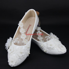Wedding shoes Bridal Shoes lace flower pearl anklet white flats low high heels