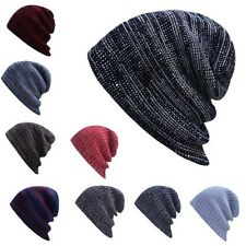 Unisex Mens Ladies Knitted Woolly Winter Oversized Slouch Beanie Hat Cap New
