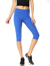 Women's Running Tights Workout Capris Cropped Yoga Pants with Pockets