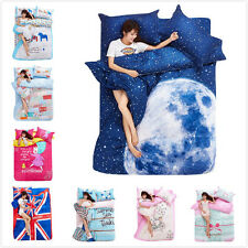 FitCA Lovely Forest Cartoon Girl Bicycle Bed Set Cotton Queen Duvet Cover