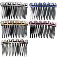 Lady Plastic Flower Design Hairstyle Decor Inlaid 16 Teeth Comb Hair Clips 2 Pcs