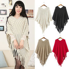 Women's Knit Batwing Cape Tassels Poncho Cloak Jacket Coat Winter Outwear Worthy