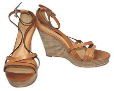 Coach Leather Wooden Wedges BROWN Platforms 10 B