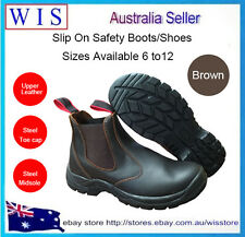 Steel Toe Cap Elastic Side Safety Boot,Safety Shoe,Leather Upper,Brown Color