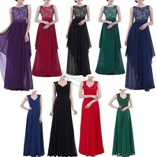 Women's Casual Deep- V Neck Sleeveless Vintage Maxi Evening Formal Prom Dress UP